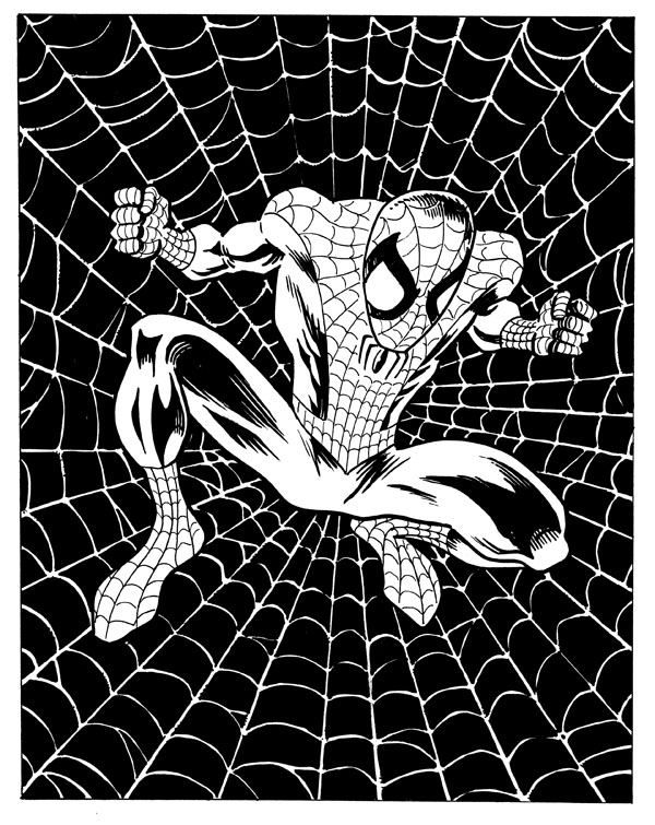 Spider-Man web black and white